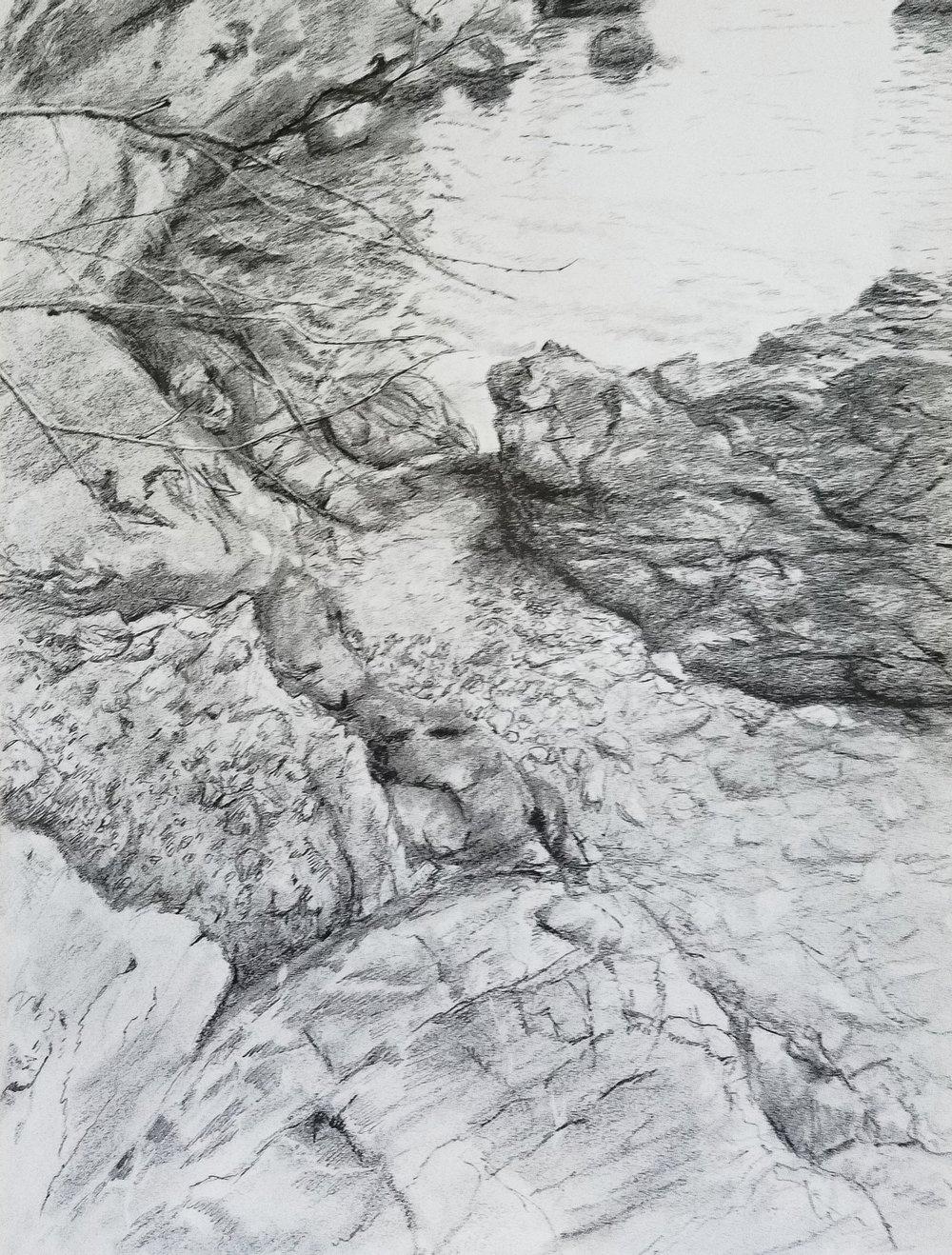 Beach Pebbles, Tellaro, Italy; graphite; 2018