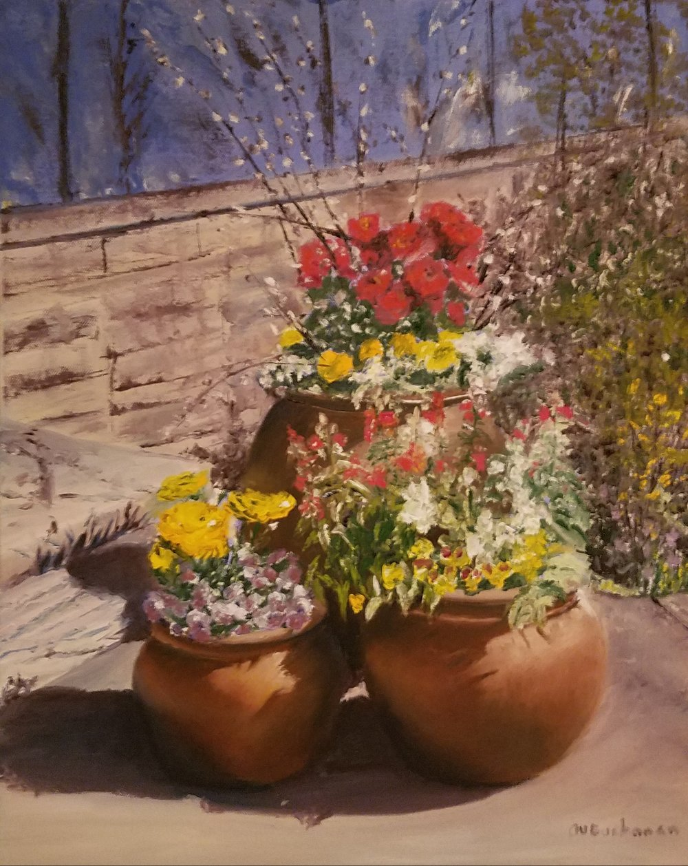 Spring Planters at the Arboretum; oil on canvas; 2018