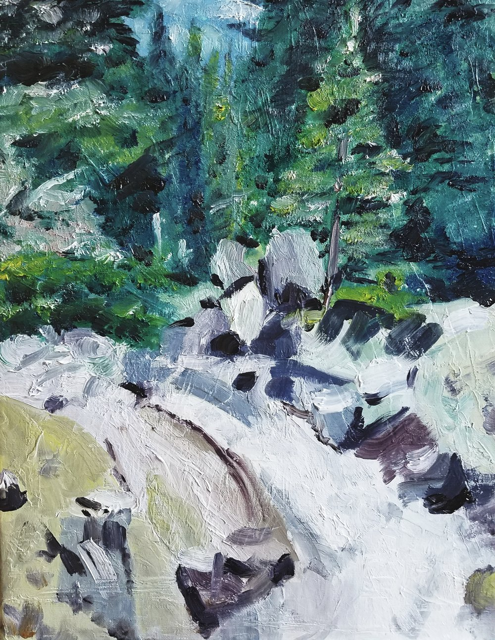 Alpine Mountain Stream; oil on canvas; 2018