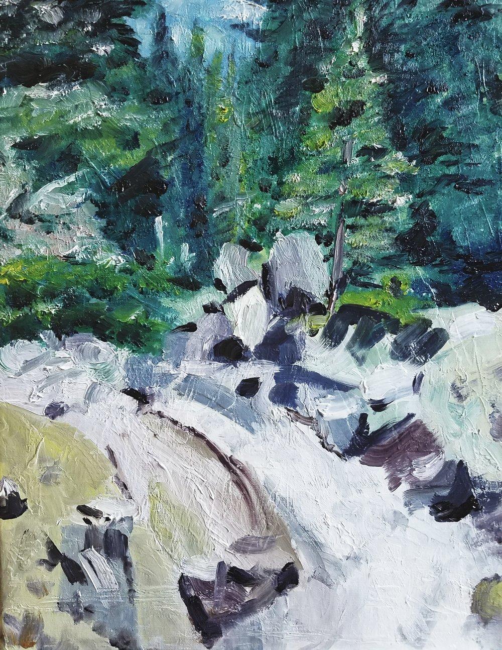 Alpine Mountain Stream; oil on canvas; 2018