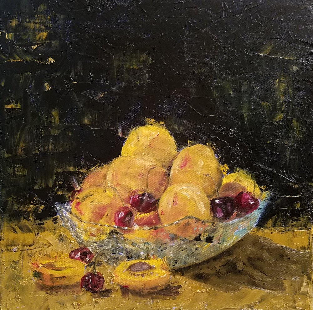 Still Life with Apricots; oil on canvas; 2018