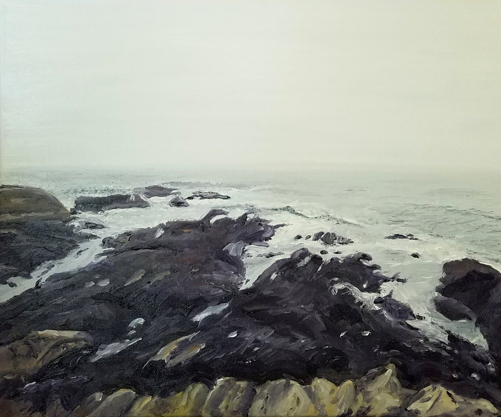 Rocky Coast, Maine; oil on canvas; 2018