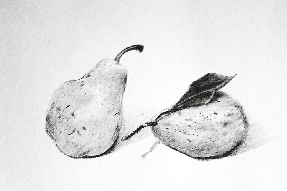 Pears; graphite; 2018