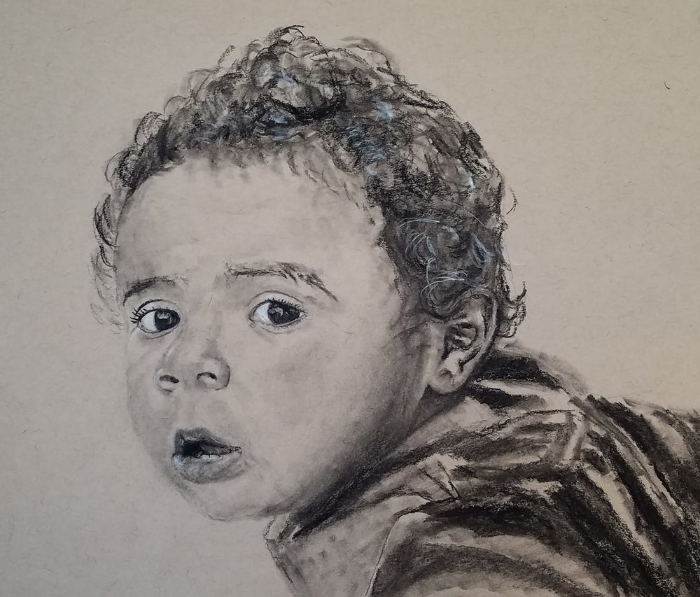 Tavi; charcoal on toned paper; 2018