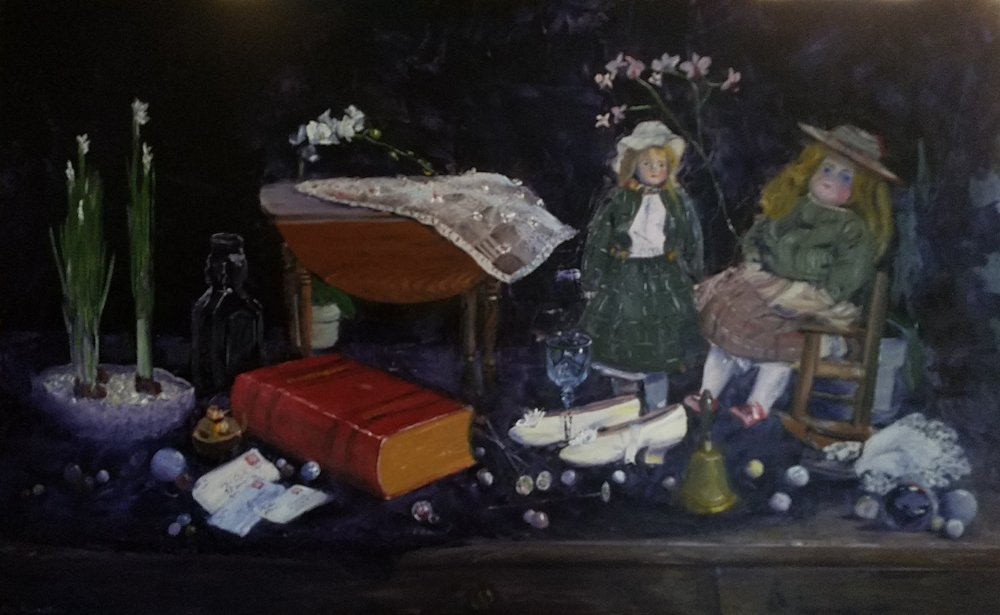 "Still life with Marbles and Hatpins; oil on canvas; 30"" x 48""; 2018"