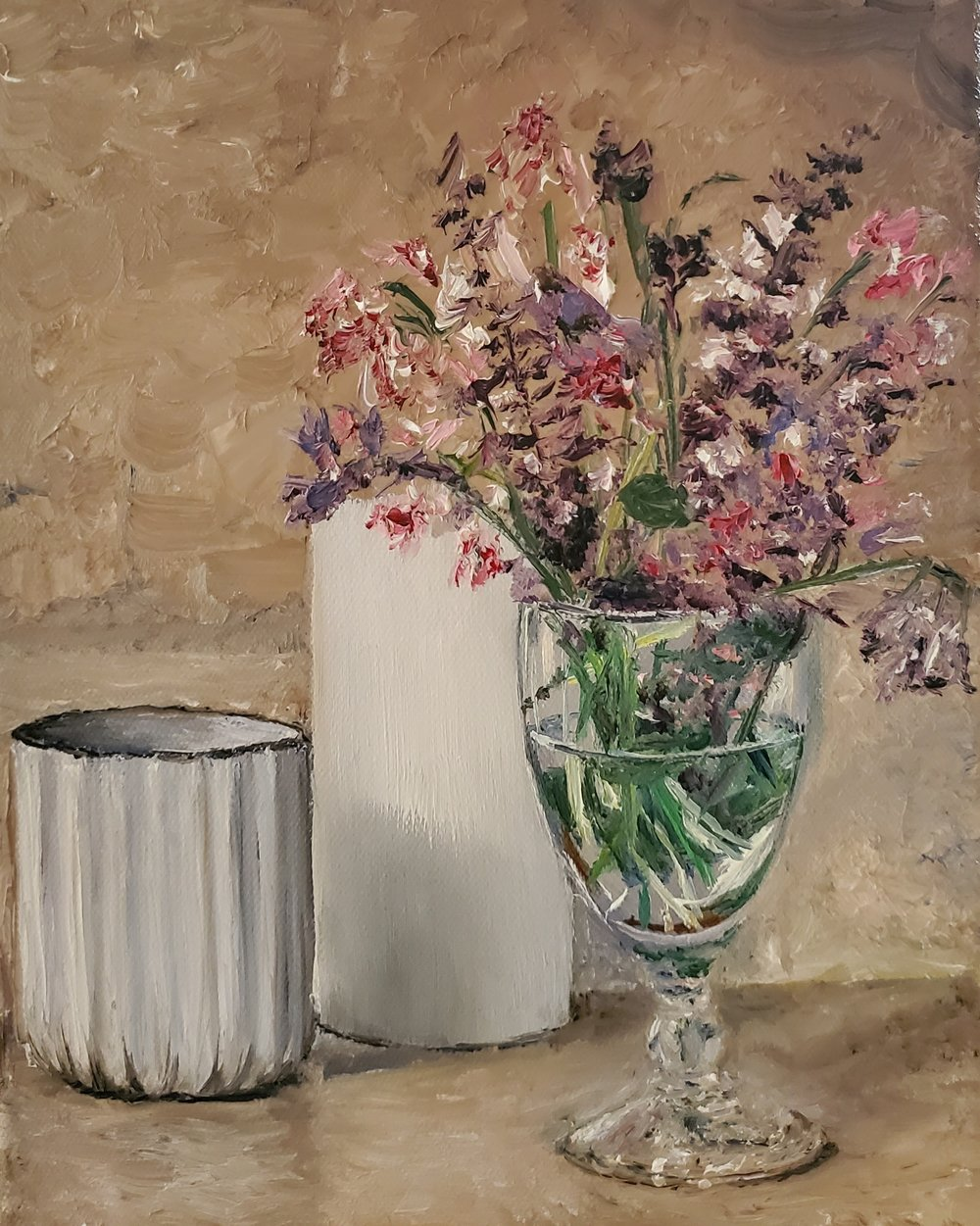 Still Life with Flowers; oil on canvas; 2019