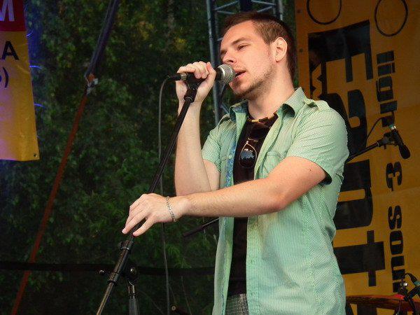 Singing at a big summer festival