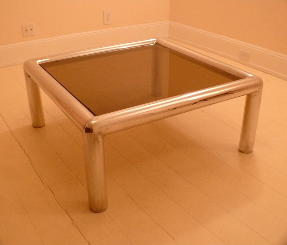 "John Mascheroni table / 36""sq. 14"" h / aluminum / original 70's"