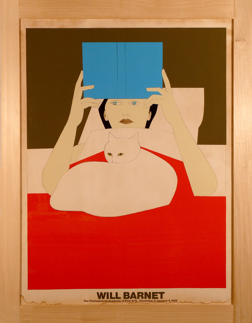 1970s / WILL BARNET / Woman with cat / framed / image 27 x 36 / frame 34 x 44 / imperfect, some visible water damage on the border