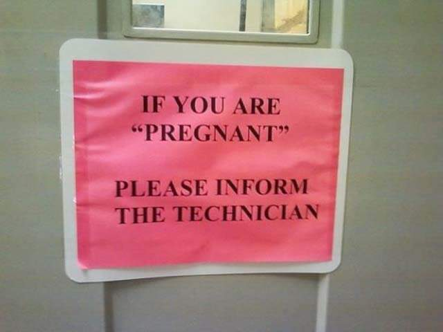 """I don't know what kind of pregnant """"pregnant"""" might be, but nothing in this situation would require quotation marks!  source"""