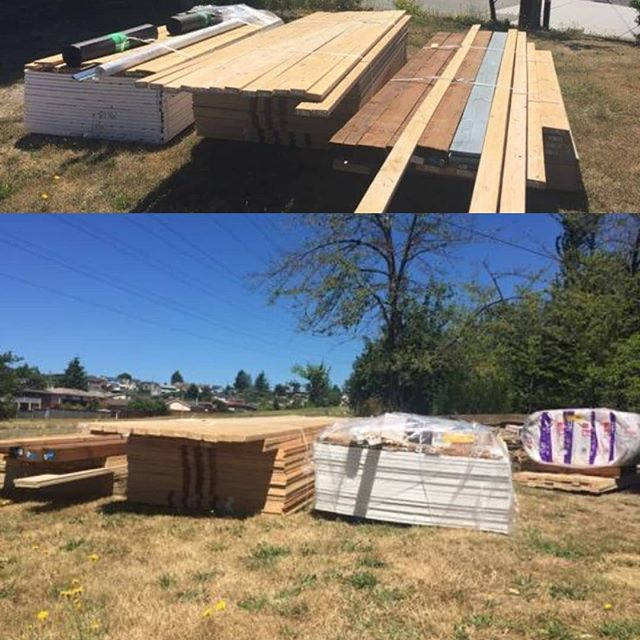 Turning this pile of lumber into two homes! Join team #PigDib starting this weekend to build housing for the homeless. Volunteer shifts at profile link!