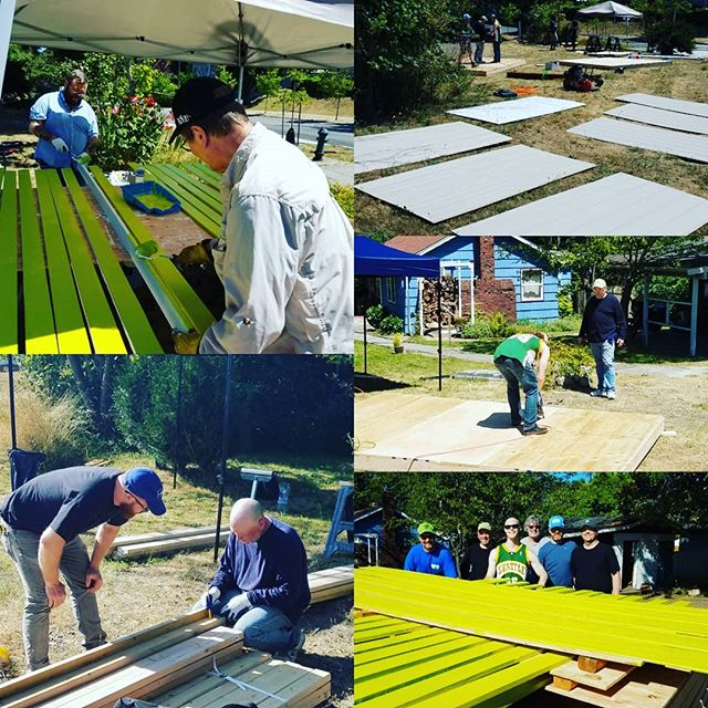 Long day in the sun for team #PigDib yesterday building two homes for donation to LiHi. Walls assembled, bases built and leveled, all paint done! Bring on day two!  Thank you to everyone who has come to #GoApe with us!