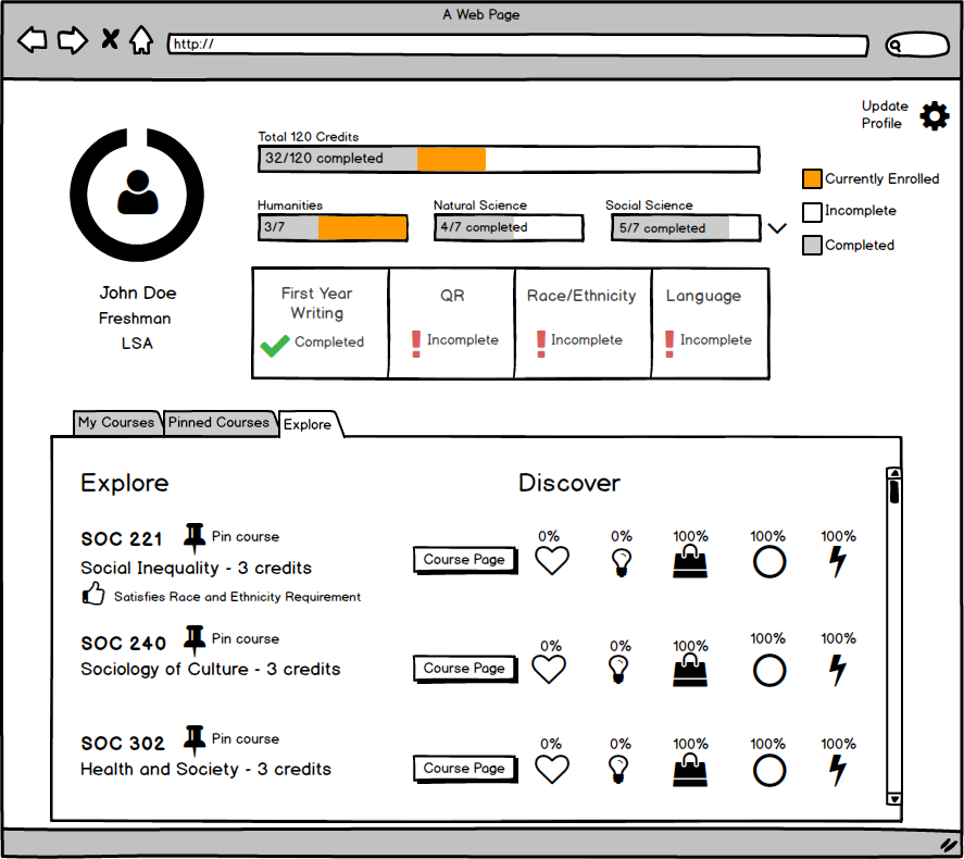 Second iteration of balsamiq prototype after incorporating client and student feedback.