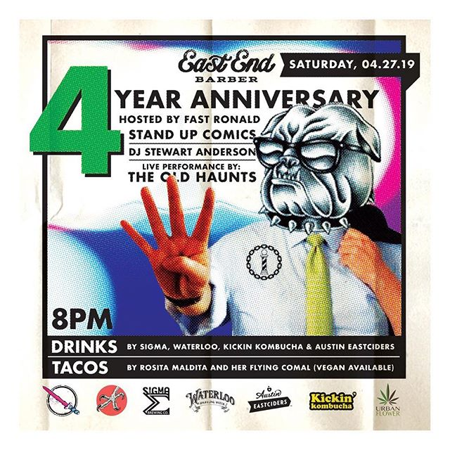 this saturday marks 4 years of putting hair on the floor at 1318 telephone rd! thank you to everyone who's given us a shot over the years. to properly thank y'all we're throwing a party saturday the 27th at the shop with bands and comics and booze and food, come out and celebrate with us 🤝 #familyovereverything