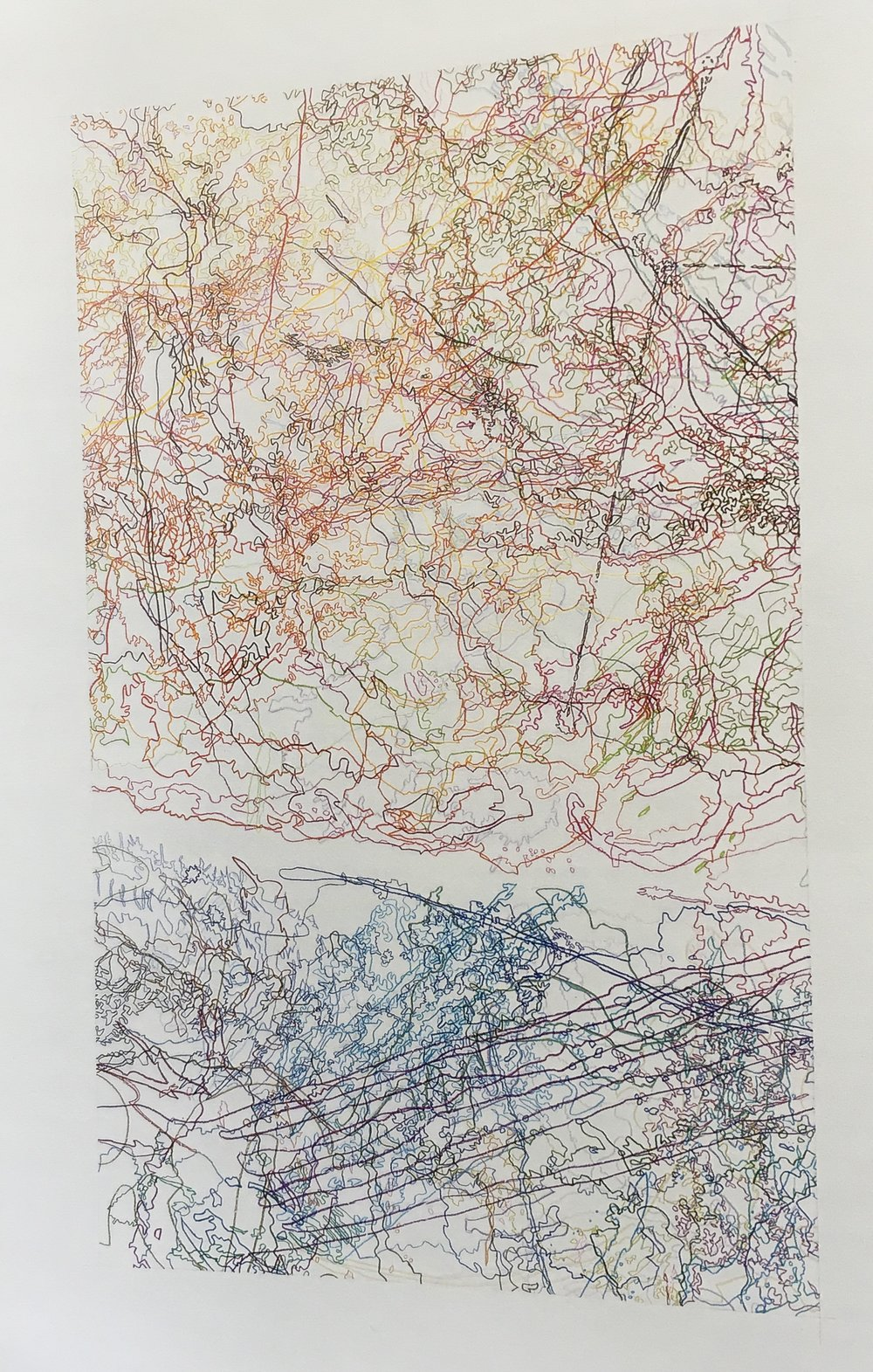 #238 Drawing (Tracings up to the L.A. River placed in the Clark Telescope Dome, Lowell Observatory, Flagstaff, AZ)  by Ingrid Calame. 2006. Colored pencil on trace Mylar; 50 x 34 inches. P 110.