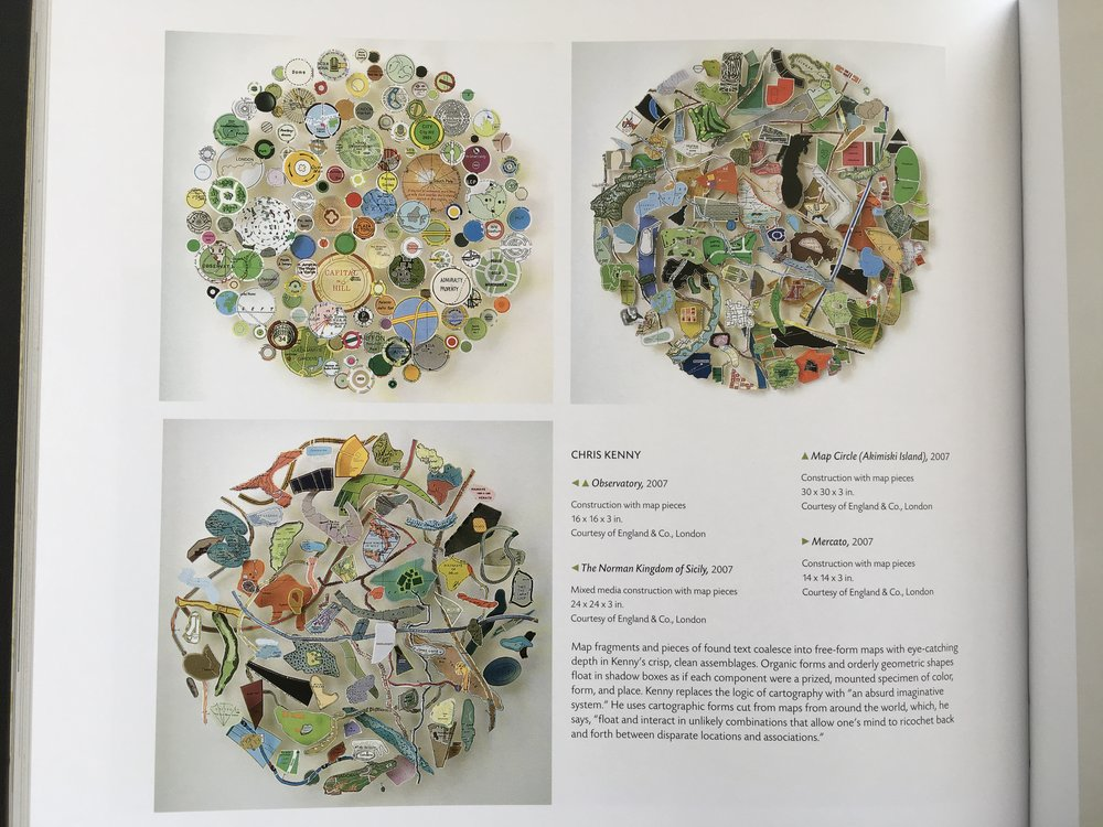 Three pieces by Chris Kenny from 2007 made from mixed media map pieces. He combines the pieces from maps of different scales and places to create new cartographic entities. P 194.