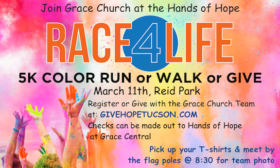 When you register scroll down, click on view all teams and then join the Grace Church of Sahuarita Team.
