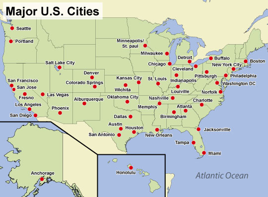 USA Map Stock Image Image Us Map With Major Cities - Usa map with major cities