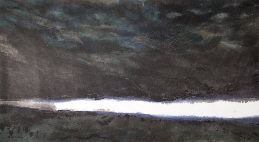 Frozen Lake (2013) - Watercolor on paper, 30 x 52 ½ in.