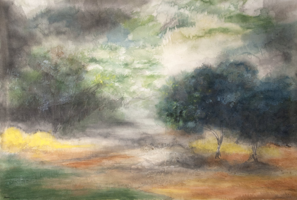 Imminent Storm (2013) - Watercolor on silk, 32 7/8 x 42 in. Collection of Marguerite and Gerry Lenfest