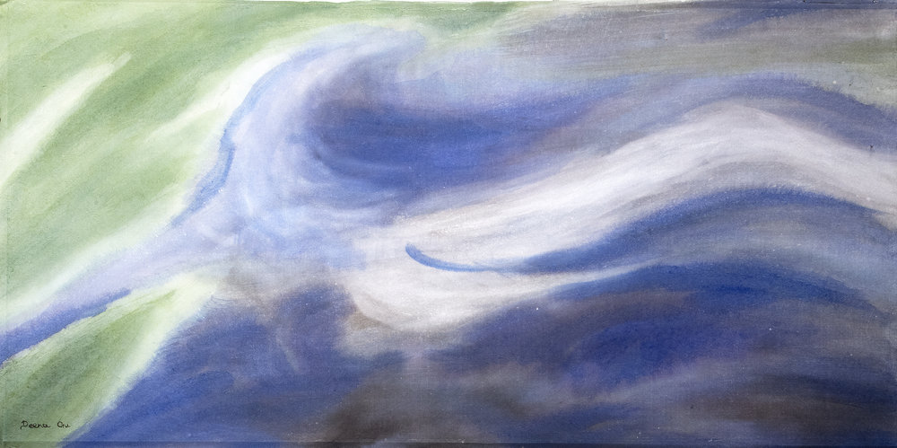 Swirl (2013) - Watercolor on paper, 18 3/4 x 37 3/8 in.