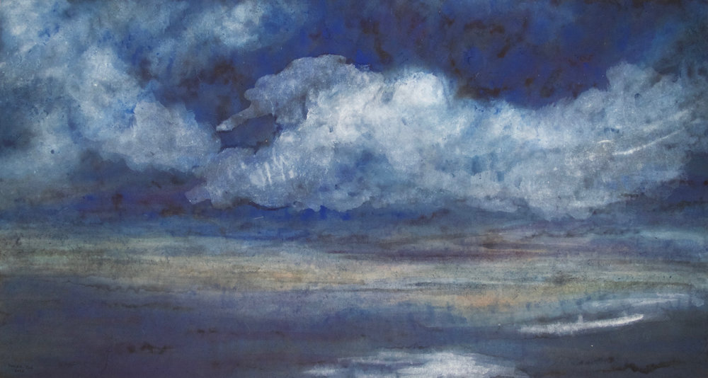 "The Clouds Descend, 31""x58""Watercolor on rice paper,  2016"