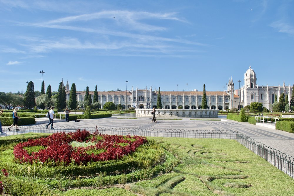 Gardens outside Jeronimos Monastery and Museum, Belem, Lisbon