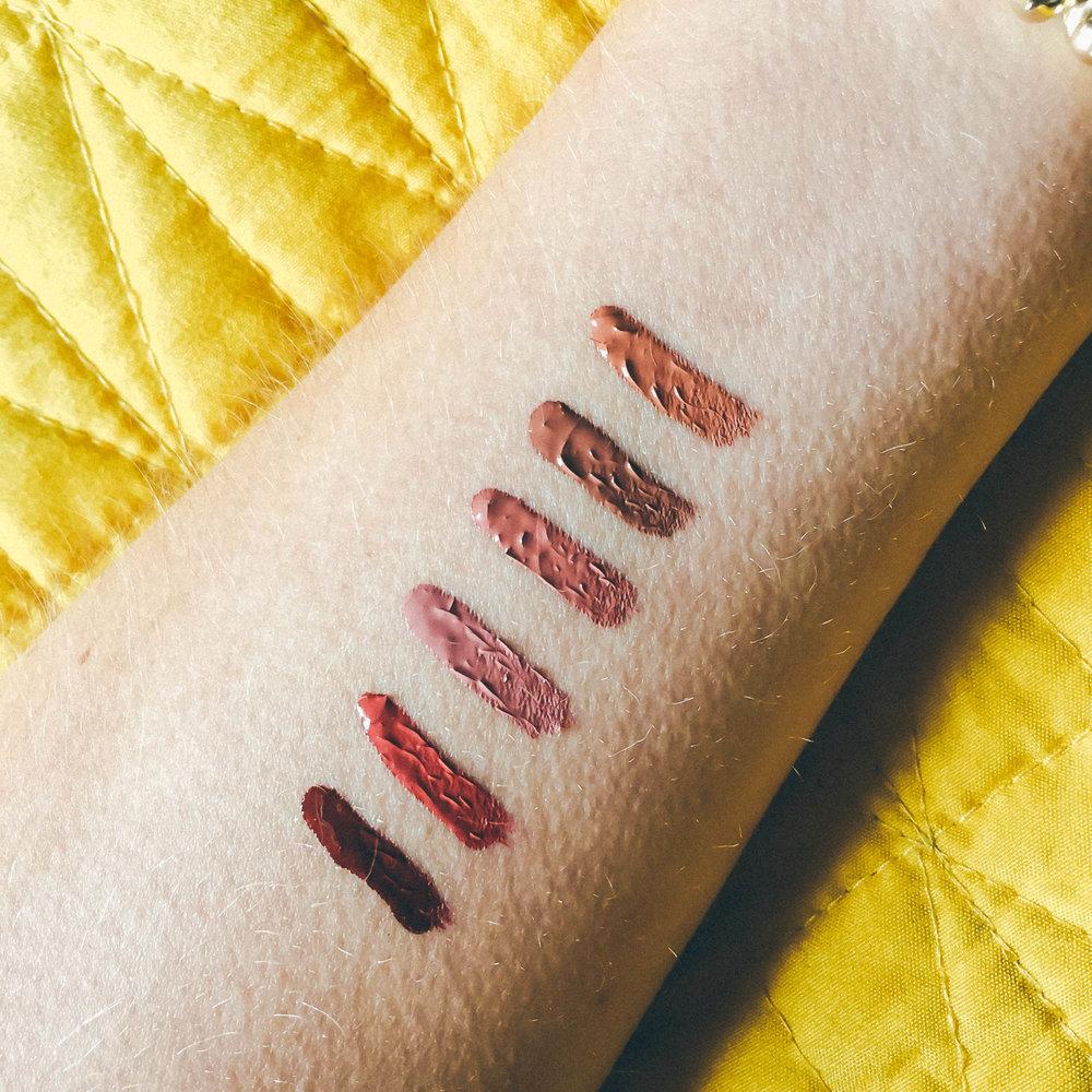 "Mini Matte Liquid Lipsticks in order from top to bottom: ""Exposed"", ""Dolce K"", ""Candy K"", ""Koko K"", ""Kristen"", and ""Leo"". Hey goosebumps"