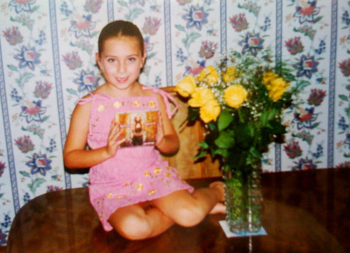 """Terrible scan of me receiving the """"Oops!...I Did it Again"""" CD as a gift after my dance recital"""