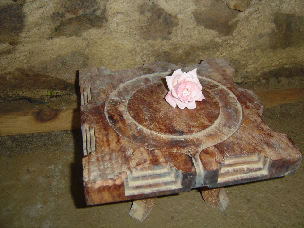 The  pitham ( stool) where the lineage of teachers 'sit' to observe the training.
