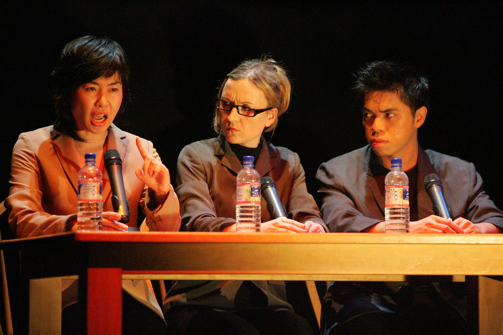 Left to Right: Hyeok Kim, Heidi Love, and  Seng Soo Ming in Attempts on her life, Scenario 11. 2007. Esplanade Studio, Theatres on the Bay Singapore, 2004..