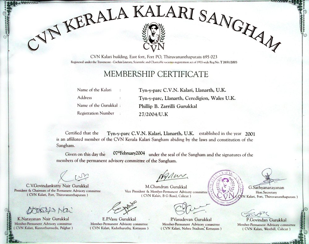 Zarrilli was the first non-Malayali to be gifted a  pitham  representing master/'gurukkal' status, and the Tyn y parc CVN Kalari was the first kalari to be officially certified by the CVN Kerala Kalari Sangham outside of Kerala, India.