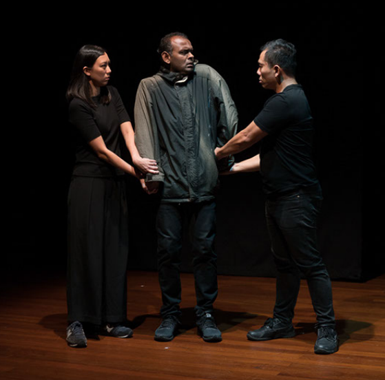 Above: Grace Khoo, Ramesh Meyyappan and Peter Sau in 'Don't Steal my Voice' from AND SUDDENLY I DISAPPEAR by Kaite O'Reilly (Singapore performance).