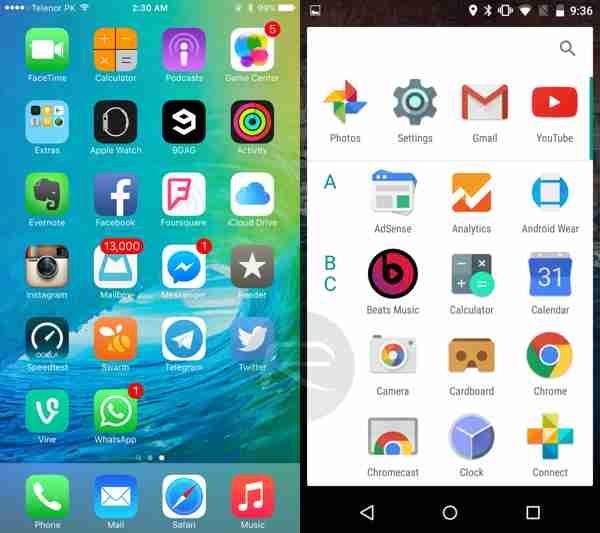 طريقة عرض التطبيقات في iOS 9  المعتادة بينما يوجد تغيير بسيط في اندرويد M وهو صف التطبيقات في درج التطبيقات بشكل طولي.