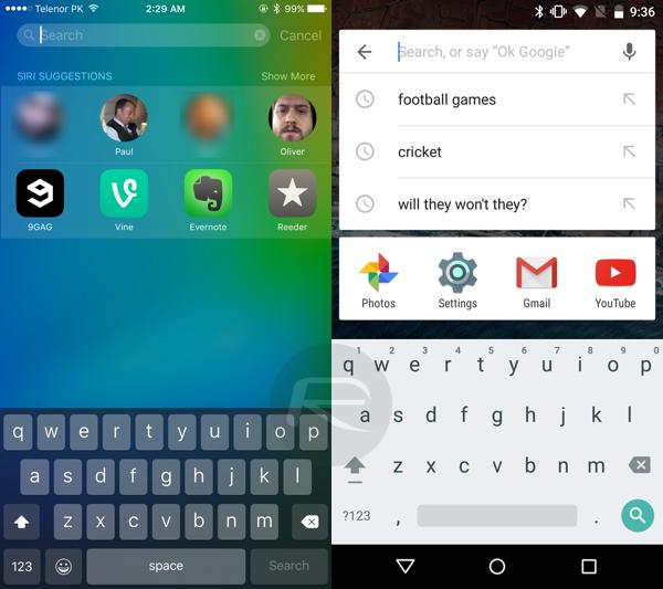 كيف تبحث عن كل شي في هاتفك؟ بحث spotlight  في iOS 9  وبالمقابل بحث جوجل في الاندرويد