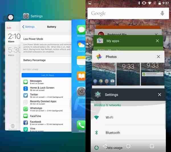شاشة تعدد المهام  اندرويد M و iOS 9  والنظامين يطبقان نظام البطاقات (تحية لعشاق webOS)