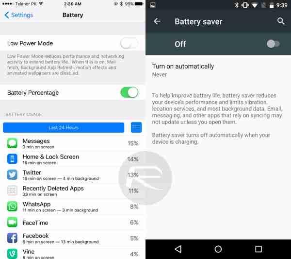 نظام الطاقة المنخفظة في iOS 9 وبالمقابل نظام حفظ الطاقة في أندرويد M