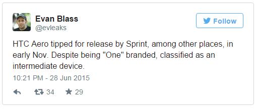 الهاتف HTC Aero سيتم إطلاقه من Sprint خلال نوفمبر