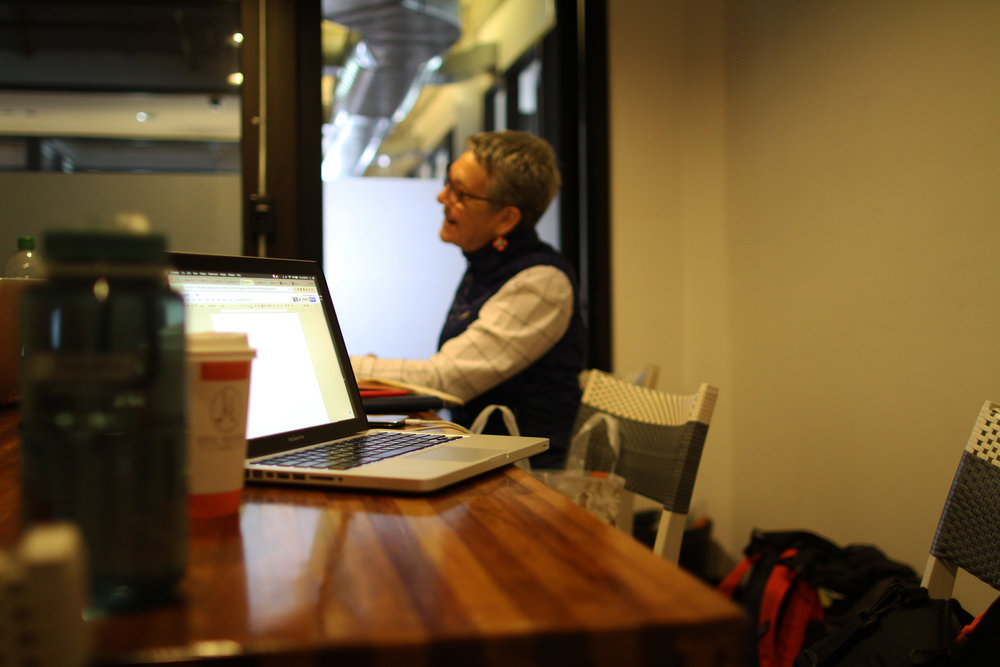 Alison Chase, director of Alison Chase / Performance hard at work in New York City, NY., Photograph by Eleanor Kipping
