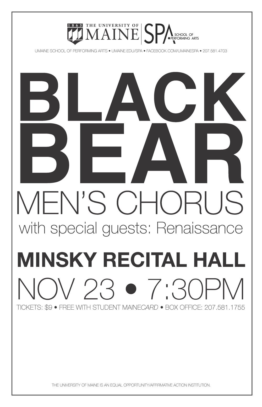 University of Maine, School of Performing Arts, Black Bear Men's Chorus