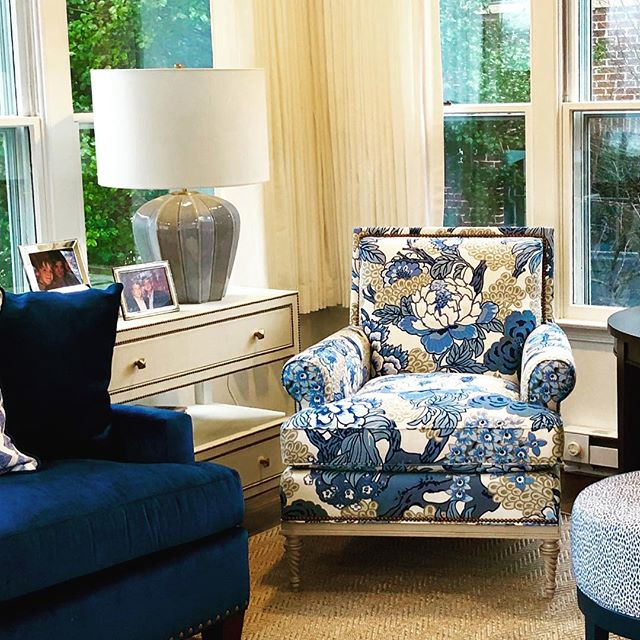 Pretty shot from our rainy install today. #fabriclove #interiordesign #interiordesigner #sunroomdecor #blueandwhitedecor