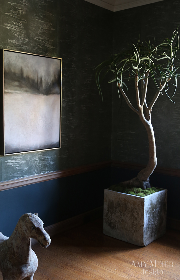 Dark blue grey moody walls in a showhouse dining room by Amy Meier. #bluegrey #diningroom