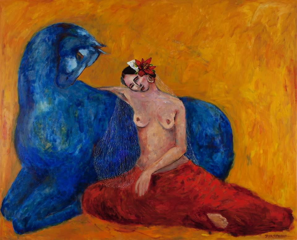 Woman with Blue Horse (SOLD)