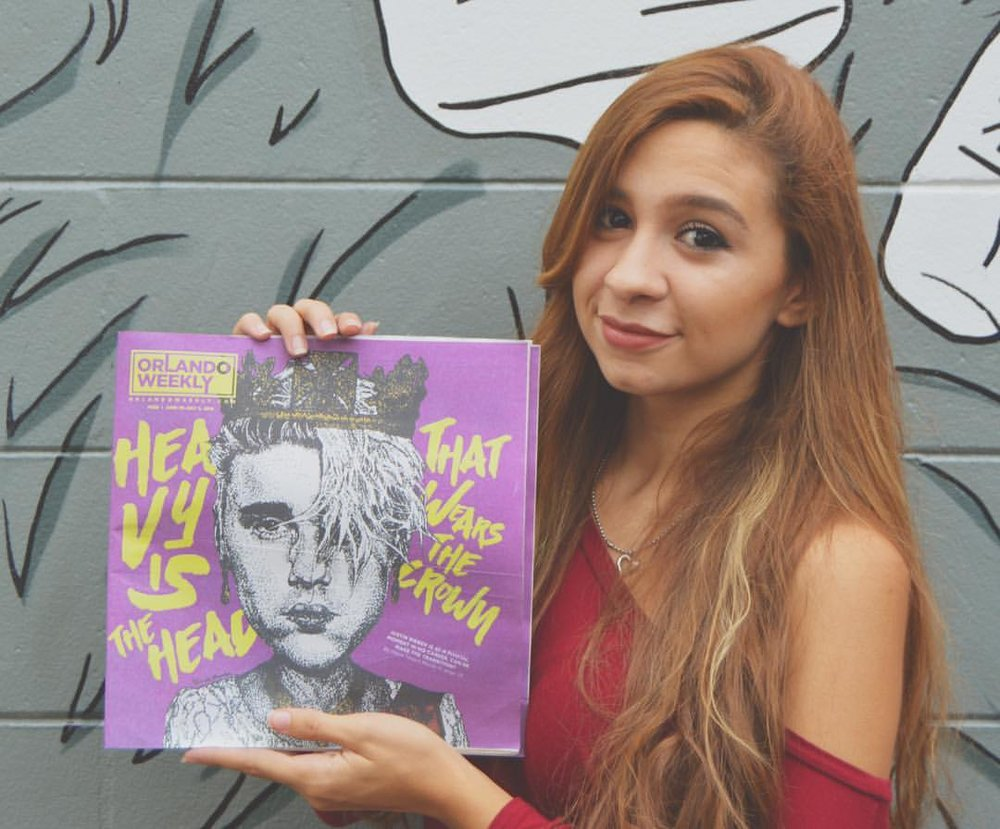 "Samantha Shumaker with the ""God Save Justin Bieber"" illustration"