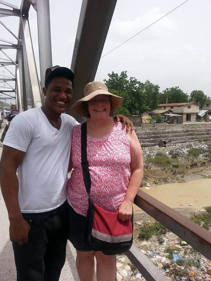"Caleb and ""Mom Nancy"" at the main road bridge, June 2015"