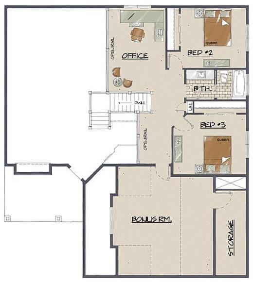 Upstairs level floorplan