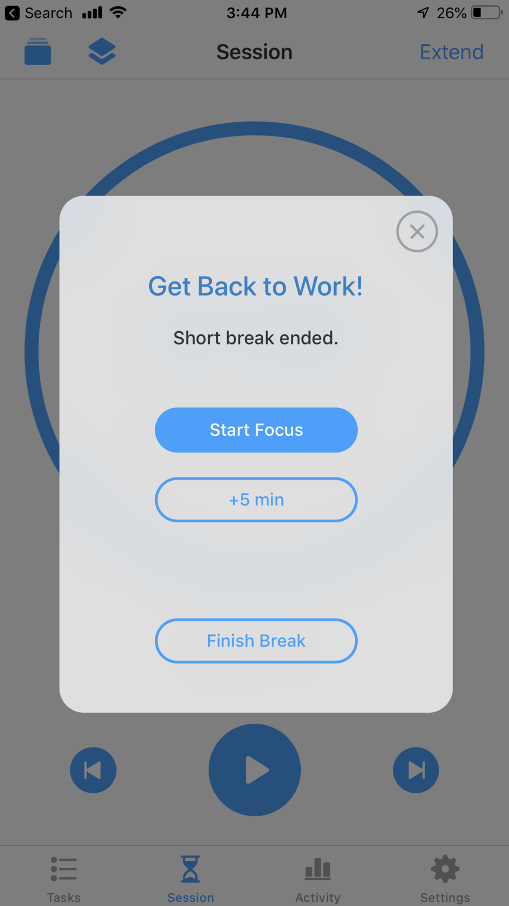 Start or Break Focus App