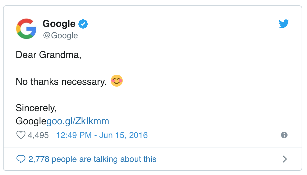 Google's Official Tweet