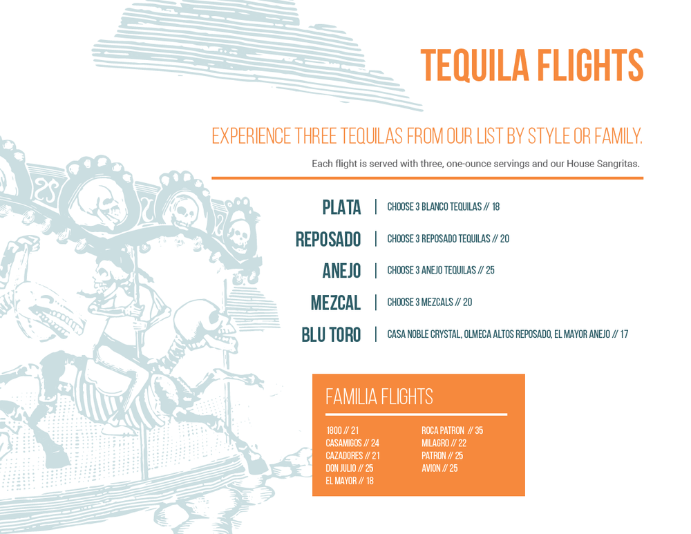 Tequila Flights at West Des Moines Restaurant Blu Toro