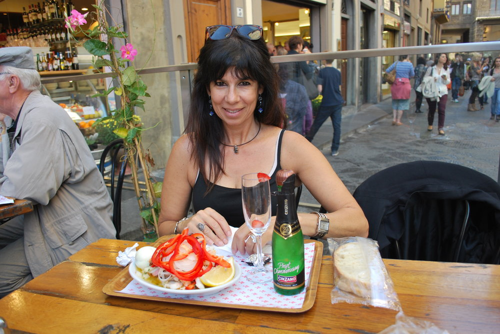 Enjoying life and a nice glass of chilled chardonnay in Firenze, Italia!